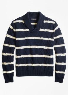 Brooks Brothers Nautical Stripe Shawl Collar Sweater