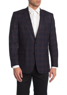 Brooks Brothers Navy Plaid Two Button Notch Lapel Wool Blend Suit Separate Blazer