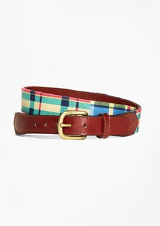 Brooks Brothers Needlepoint Patchwork Madras Belt