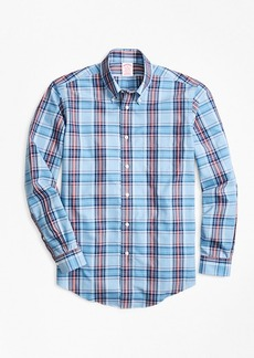 Brooks Brothers Non-Iron Madison Fit Blue and Red Plaid Sport Shirt