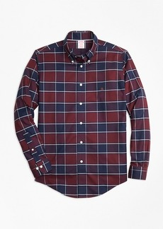 Brooks Brothers Non-Iron Madison Fit Burgundy Plaid Sport Shirt