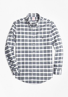 Brooks Brothers Non-Iron Madison Fit Grey Heather Plaid Sport Shirt