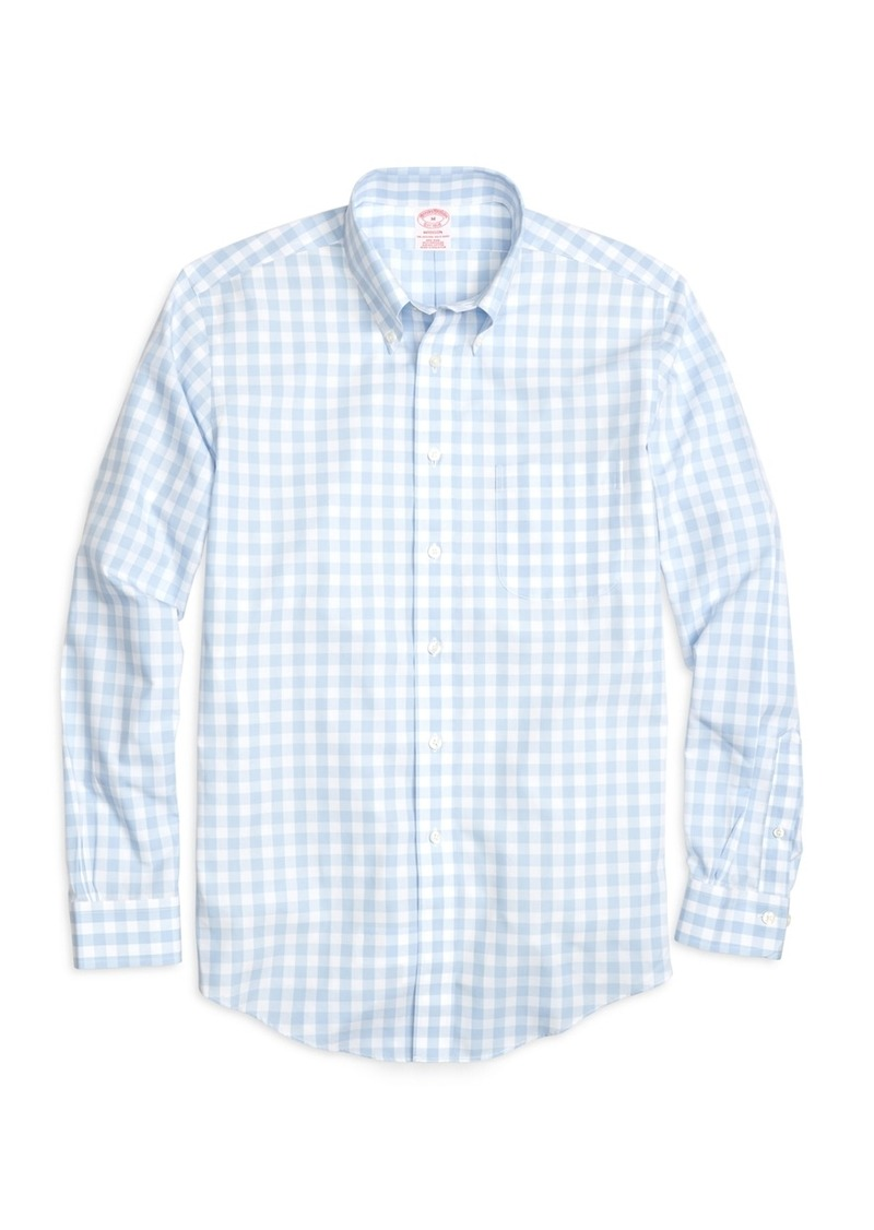 Brooks brothers non iron madison fit large gingham sport for Brooks brothers non iron shirts review