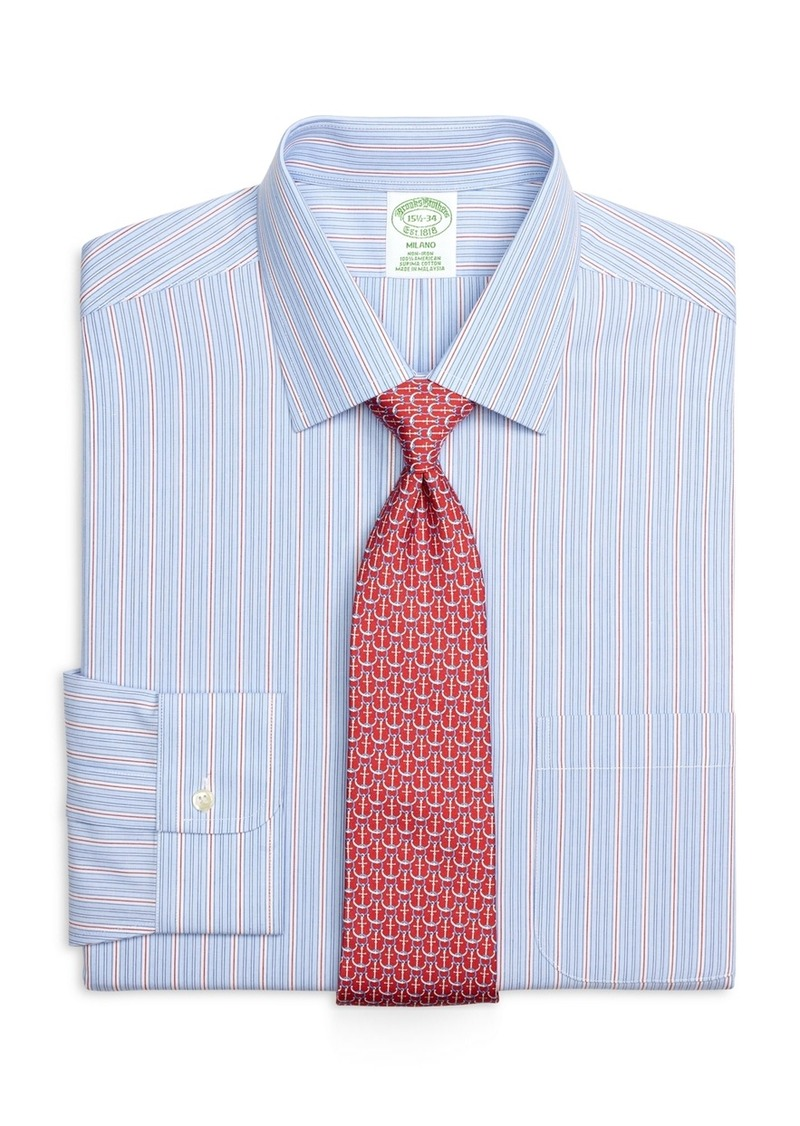 Sale brooks brothers non iron milano fit framed stripe for Brooks brothers dress shirt fit