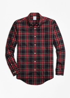 Brooks Brothers Non-Iron Regent Fit Black Stewart Tartan Sport Shirt