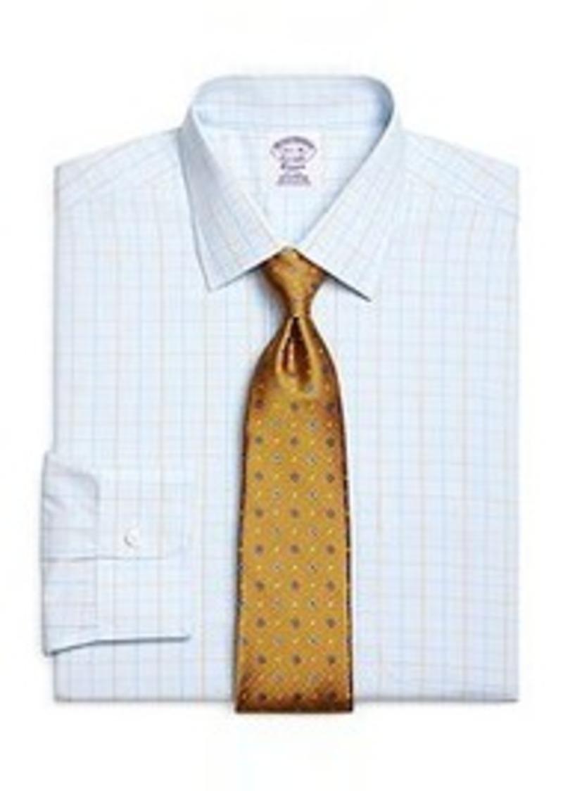 Brooks brothers non iron regular fit glen plaid dress for Regular fit dress shirt