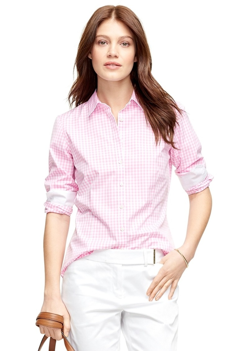 Brooks brothers non iron tailored fit check dress shirt for Tailor dress shirt cost