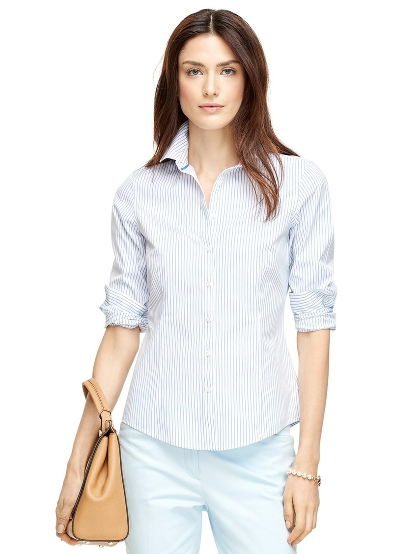 Brooks brothers non iron tailored fit stripe dress shirt for Tailor dress shirt cost