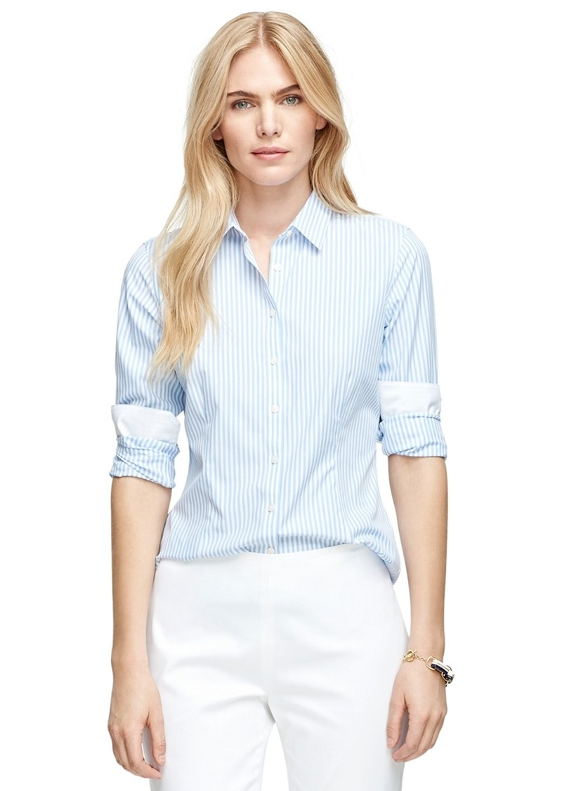 Brooks brothers non iron tailored fit stripe dress shirt for Tailoring a dress shirt