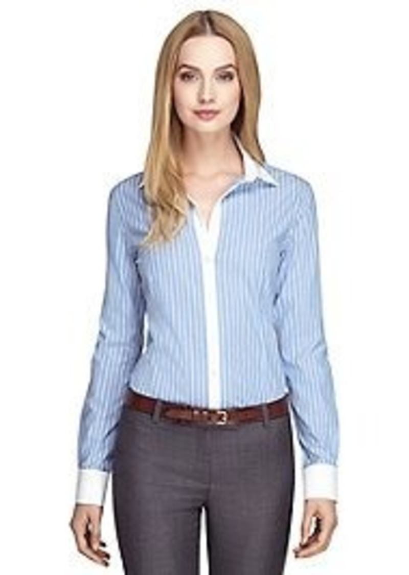 Brooks brothers non iron tailored fit wide stripe dress for Tailor dress shirt cost