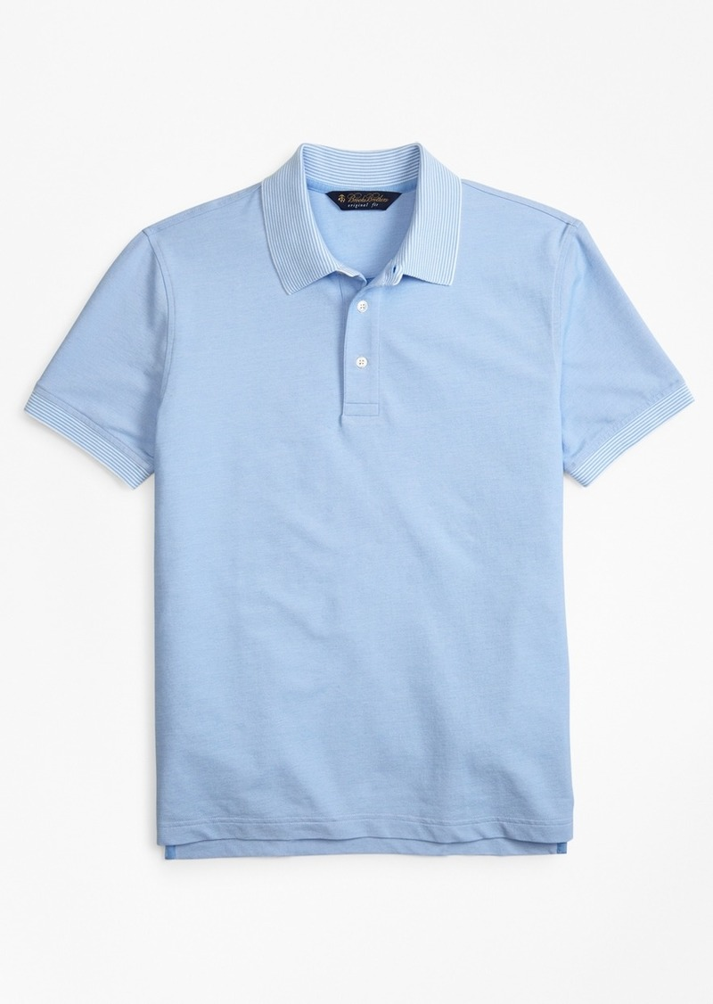 Brooks Brothers Original Fit Cotton And Linen Stripe Collar Polo
