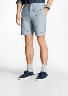 Brooks Brothers Paisley-Embroidered Chambray Shorts