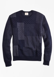 Brooks Brothers Patchwork Cotton Jacquard Crewneck Sweater