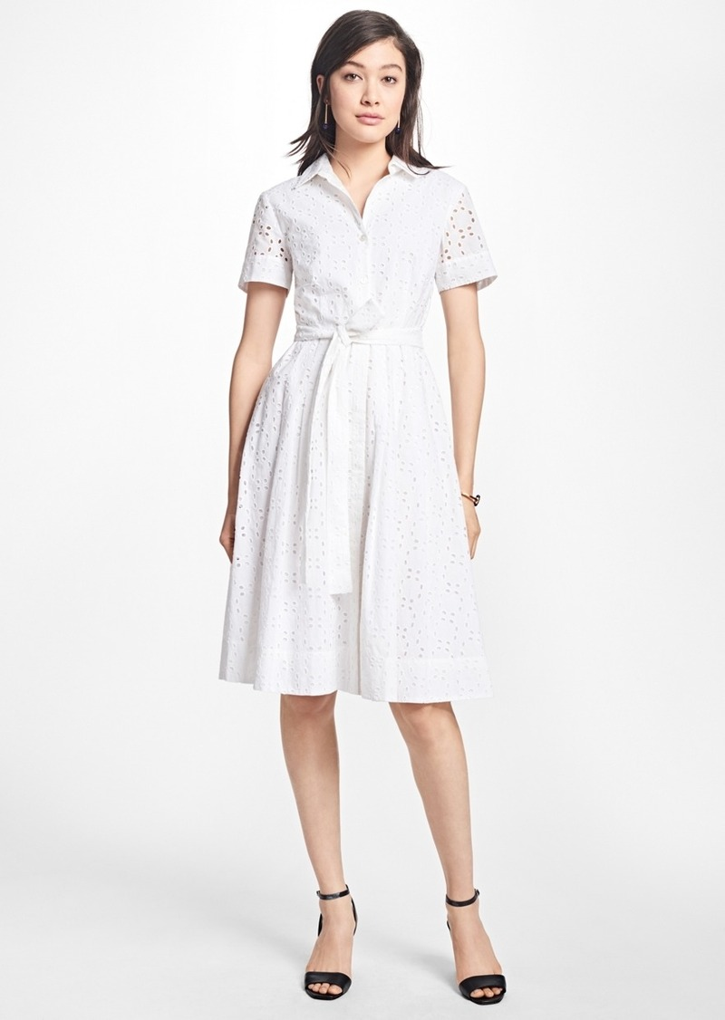 Brooks Brothers Petite Cotton Eyelet Shirt Dress Dresses