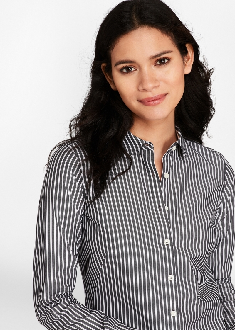 d834ffa1da591 Brooks Brothers Petite Non-Iron Striped Stretch-Cotton Poplin Fitted Shirt