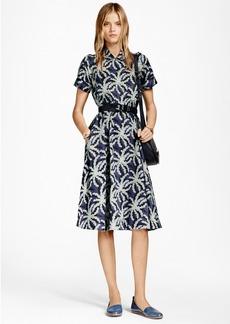 Brooks Brothers Petite Palm Tree Print Cotton Sateen Shirt Dress