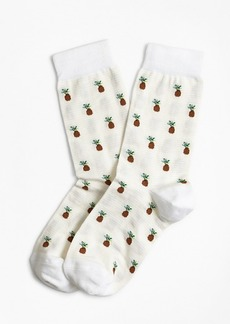 Brooks Brothers Pineapple-Pattern Stretch-Cotton Socks