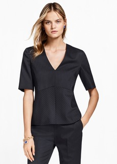 Brooks Brothers Pinstripe Stretch-Wool Peplum Top