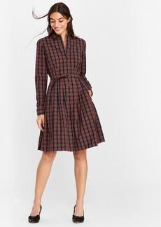 Brooks Brothers Plaid Clip-Dot Cotton Shirt Dress