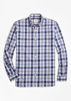Brooks Brothers Plaid Cotton Poplin Sport Shirt