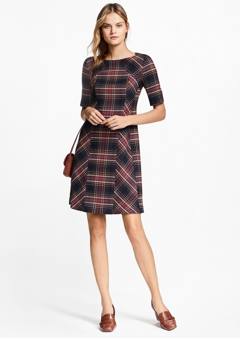 67941204b396 Brooks Brothers Plaid Double-Faced Wool-Blend Dress Now $249.00