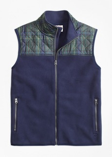 Brooks Brothers Plaid Quilted-Yoke Polar Fleece Vest