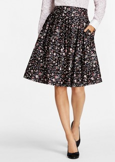 Brooks Brothers Pleated Floral-Print Cotton Sateen Skirt