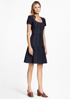 Brooks Brothers Pleated Wool Crepe Dress