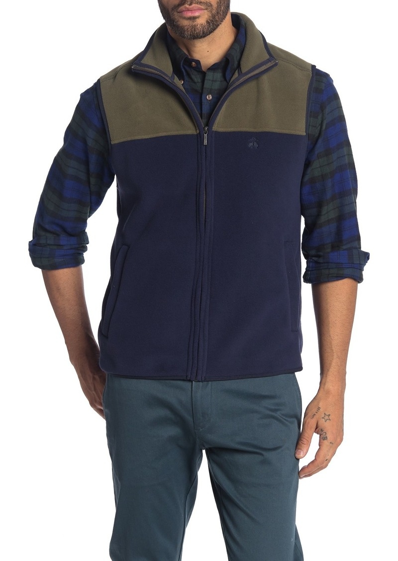 Brooks Brothers Colorblock Polar Fleece Zip Vest