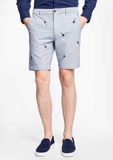 Brooks Brothers Racquet-Embroidered Cotton Oxford Shorts