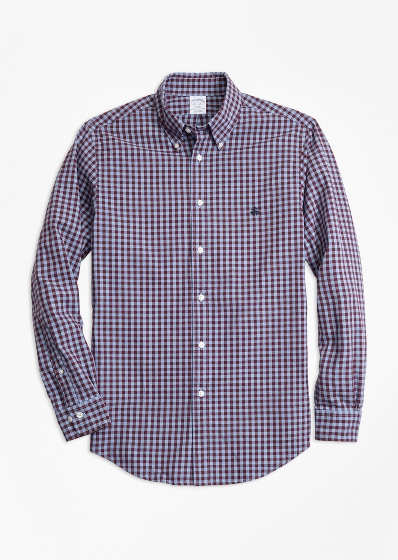 588069a518e Brooks Brothers Regent Fit Brushed Oxford Gingham Sport Shirt ...