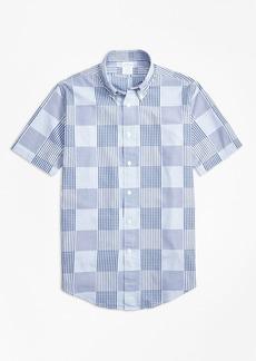 Brooks Brothers Regent Fit Dobby Patchwork Short-Sleeve Sport Shirt