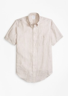 Brooks Brothers Regent Fit Irish Linen Short-Sleeve Sport Shirt