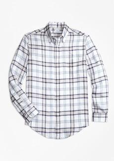 Brooks Brothers Regent Fit Plaid Irish Linen Sport Shirt