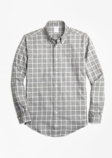 Brooks Brothers Regent Fit Small Windowpane Flannel Sport Shirt