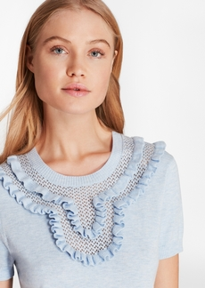 Brooks Brothers Ruffled Pointelle-Yoke Sweater