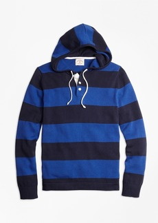 Brooks Brothers Rugby Stripe Hooded Sweater