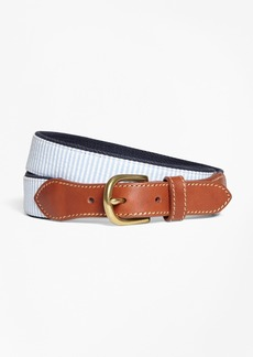 Brooks Brothers Seersucker Cotton and Leather Belt
