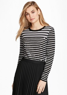 Brooks Brothers Sequin-Embellished Striped Merino Wool Sweater