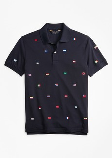 Brooks Brothers Slim Fit Flag Embroidered Polo Shirt