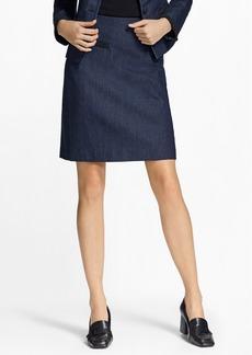 Brooks Brothers Soutache-Trimmed Denim Pencil Skirt