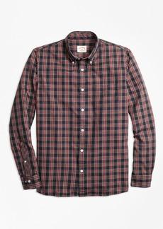 Brooks Brothers Stewart Tartan Cotton Basketweave Oxford Sport Shirt