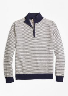 Brooks Brothers Stripe Cotton Half-Zip Sweater