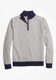 Brooks Brothers Stripe Cotton Half-Zip Sweater