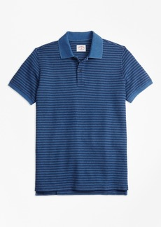 Brooks Brothers Stripe Indigo Cotton Pique Polo Shirt
