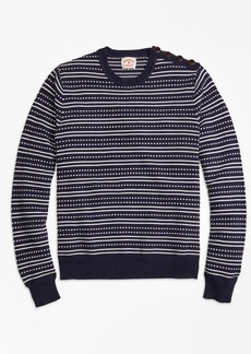 Brooks Brothers Stripe Jacquard Crewneck Sweater