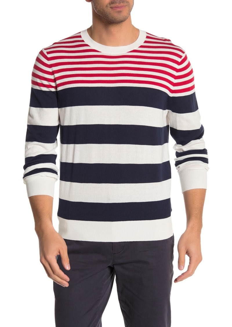 Brooks Brothers Stripe Print Colorblock Crew Neck Sweater