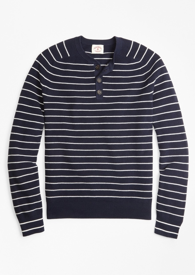 Brooks Brothers Striped Cotton Henley Sweater Sweaters