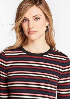 Brooks Brothers Striped Cotton Interlock Three-Quarter-Sleeve T-Shirt