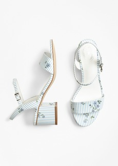 Brooks Brothers Striped Floral-Print Leather Block-Heel Sandals